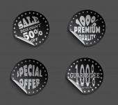 Set of labels05black — ストックベクタ