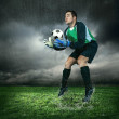 Football goalkeeper with ball — Stock Photo #54461505