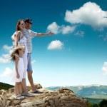 Family on top of mountain — Stock Photo #54461899