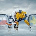 Ice hockey players in ice — Stock Photo