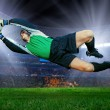 Football goalkeeper in action — Stock Photo #54462223