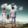 Family stay on top of mountain — Stock Photo #54462617
