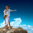 Family stay on  top of mountain — Stock Photo #54463393