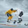 Постер, плакат: Two ice hockey players boxing