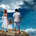 Family on top of mountain — Stock Photo #54463677
