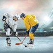 Постер, плакат: Ice hockey players on ice