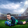 Football goalkeeper with ball — Stock Photo #54464009
