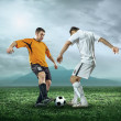 Two football players with ball — Stock Photo #54464281