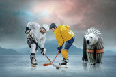 Ice hockey players and polar bear — Stok fotoğraf