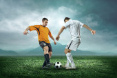 Two football players with ball — Foto de Stock