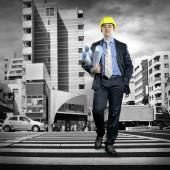 Architect in protective helmet — Stock Photo