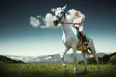 Young horsewoman riding on horse — Stock Photo