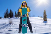 Man with snowboard — Stock Photo