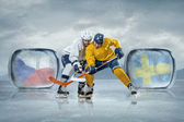 Ice hockey players in ice — Stock Photo