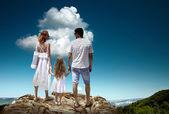 Family stay on mountain — Stock Photo