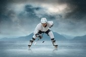 Ice hockey player on the ice — Stok fotoğraf