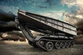 Military tank under sky — Stock Photo