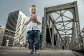 Boy with gadget — Stock Photo