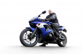 Man sits on motorcycle — Foto Stock