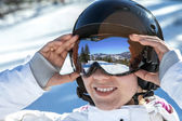 Woman in goggles and helmet — Stock Photo