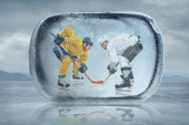 Ice hockey players in the ice — Stock Photo