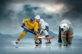 Ice hockey players and polar bear — Foto Stock