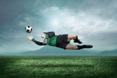 Goalkeeper with ball — Stock Photo