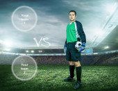 Soccer player stay at field — Stock Photo