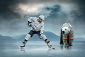 Ice hockey player and polar bear — Stok fotoğraf