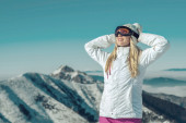 Happiness female stay on mountain — Stock Photo