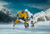 Ice hockey players on ice. — Stock Photo