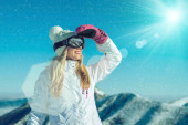 Happy female stay on mountain — Stock Photo
