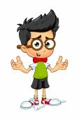 Geek Boy Cartoon character — Stock Vector