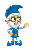 Old Elf Character In Blue — Stock Vector