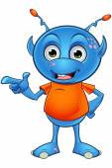 Light Blue Alien Character — Stock Vector
