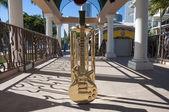 Golden guitar at the Conga Bar in Miami, Florida, USA — Stock Photo