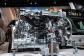 Mercedes Benz diesel motor for buses at the 65th IAA Commercial Vehicles 2014 in Hannover, Germany — Stock Photo