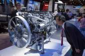 Mercedes Benz diesel motor at the 65th IAA Commercial Vehicles 2014 in Hannover, Germany — Stock Photo
