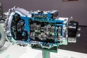New Mitsubishi automatic gearbox at the 65th IAA Commercial Vehicles 2014 in Hannover, Germany — Stock Photo