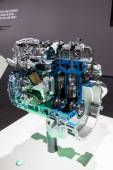 New Mitsubishi Common Rail Diesel Engine at the 65th IAA Commercial Vehicles 2014 in Hannover, Germany — Stok fotoğraf