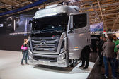 New Hyundai Xcient P520 6x2 Truck at the 65th IAA Commercial Vehicles fair 2014 in Hannover, Germany — Stock Photo