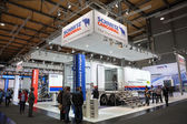Schmitz Cargobull Trailer Company stand at the 65th IAA Commercial Vehicles fair 2014 in Hannover, Germany — Stock Photo