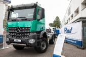 Mercedes Benz Arocs 2043 4x4 at the 65th IAA Commercial Vehicles fair 2014 in Hannover, Germany — Stock Photo