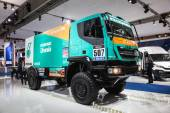 IVECO Dakar race truck at the 65th IAA Commercial Vehicles Fair 2014 in Hannover, Germany — Zdjęcie stockowe