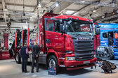 Scania R520 V8 truck at the 65th IAA Commercial Vehicles Fair 2014 in Hannover, Germany — Stock Photo