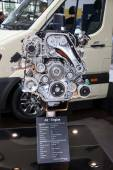 New Hyundai AII Diesel Engine presented at the 65th IAA Commercial Vehicles fair 2014 in Hannover, Germany — Stock Photo