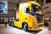New chinese DONGFENG KX truck at the 65th IAA Commercial Vehicles Fair 2014 in Hannover, Germany — Stock Photo