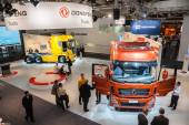 Chinese DONGFENG TRUCKS company stand at the 65th IAA Commercial Vehicles Fair 2014 in Hannover, Germany — Stock Photo