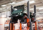 Historic Mercedes Benz UNIMOG Typ U 411 at the 65th IAA Commercial Vehicles Fair 2014 in Hannover, Germany — Stock Photo