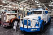Historic Volvo and Kenworth trucks at the 65th IAA Commercial Vehicles Fair 2014 in Hannover, Germany — Stock Photo